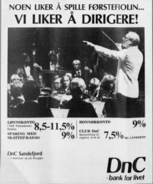 Bilde av Privatbanken i Sandefjord AS, Annonser