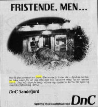 Bilde av Privatbanken i Sandefjord A/S, Annonse
