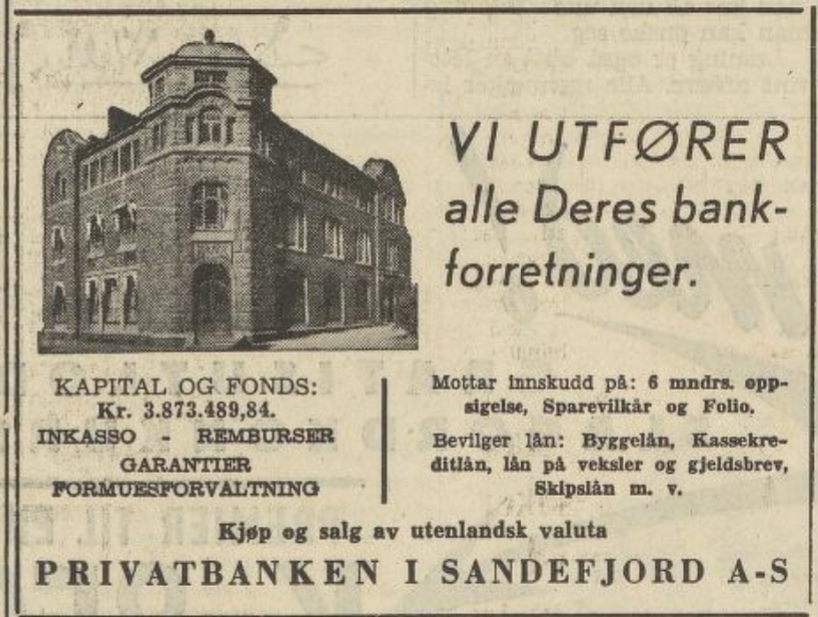 Bilde av Privatbanken i Sandefjord A