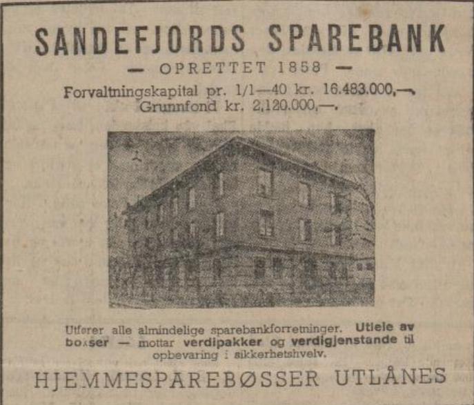 Bilde av Sandefjords Sparebank, Annonser