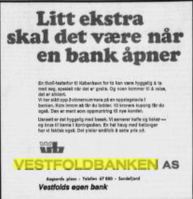 Bilde av Vestfoldbanken, Annonser