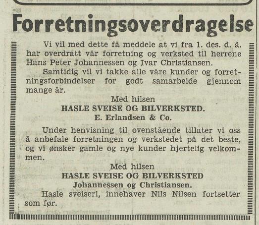 Bilde av Forretningsoverdragelse 1961