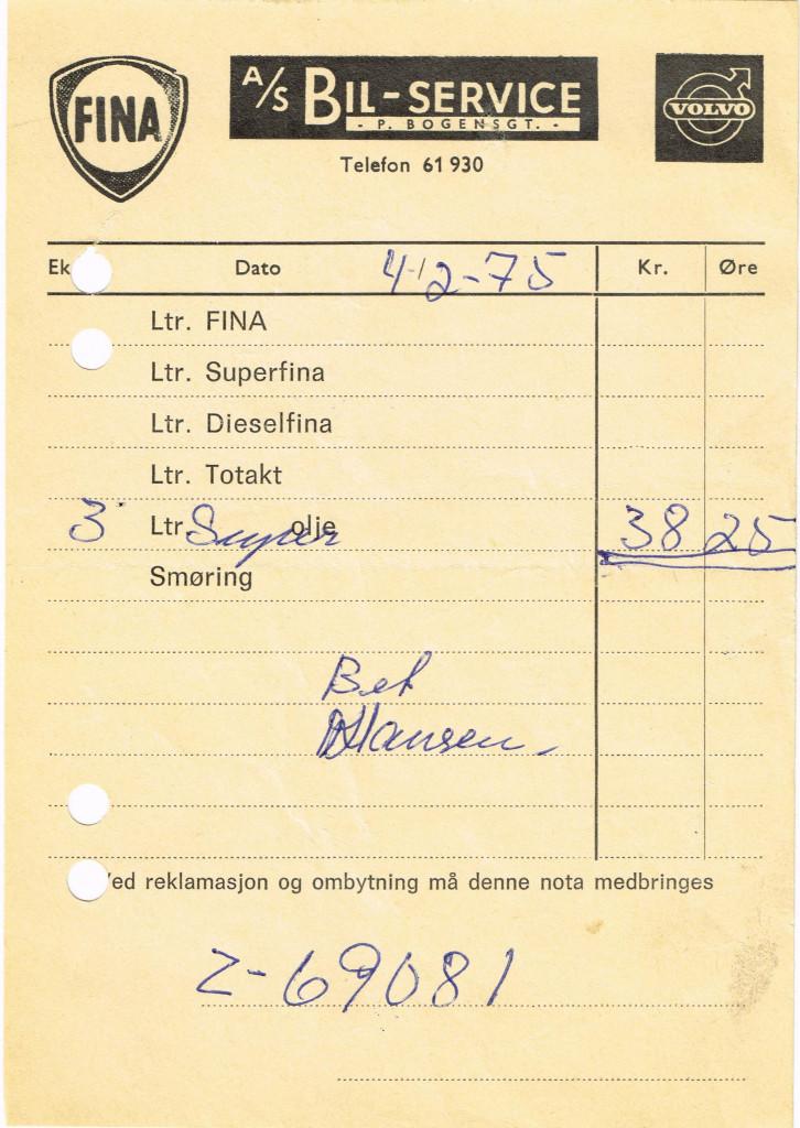 Bilde av Kvittering olje 1975