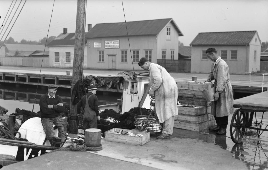 Bilde av Fiskemottak utenfor fiskebasarene