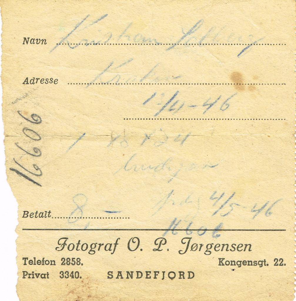 Bilde av Kvittering 1946