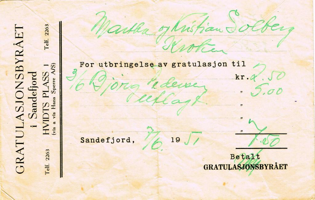 Bilde av Kvittering 1951