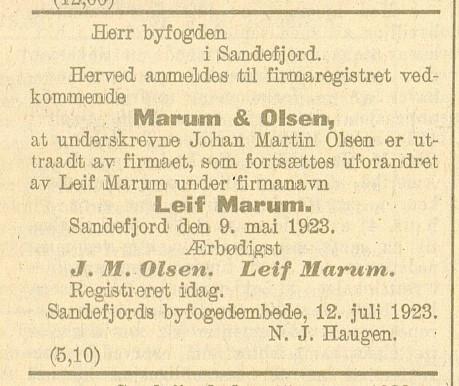 Bilde av Kunngjøring 20.08.1923