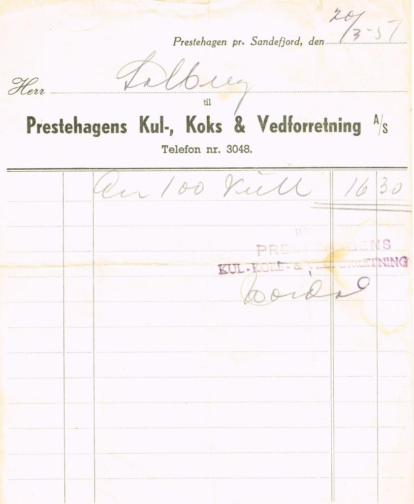 Bilde av Presthagens Kul-, Koks- og Vedforretning A/S