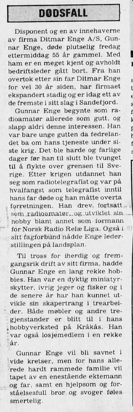 Bilde av Dødsfall Gunnar Enge 1.10.1979
