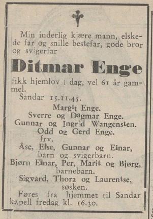 Bilde av Dødsfall Ditmar Enge 15.11.1945