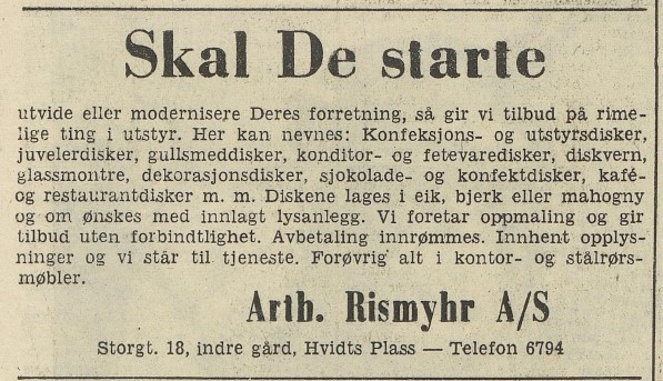 Bilde av Arth. Rismyhr as            Annonse 1954