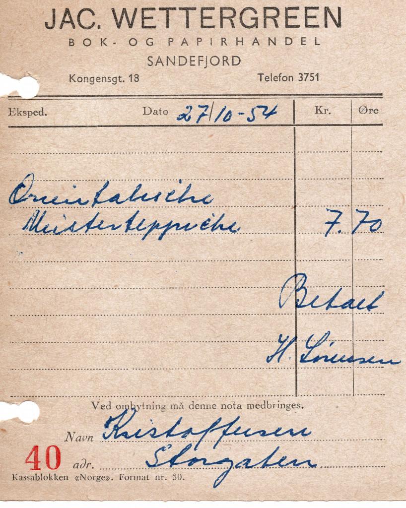 Bilde av Kvittering 1954