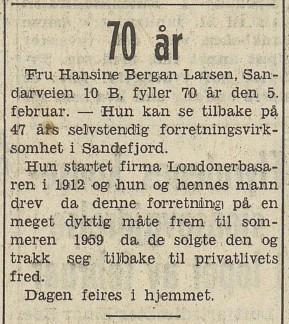 Bilde av Hansine 70 år