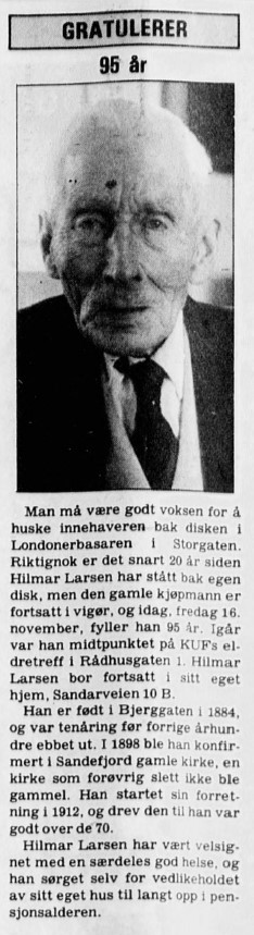 Bilde av Hilmar Larsen 96 år