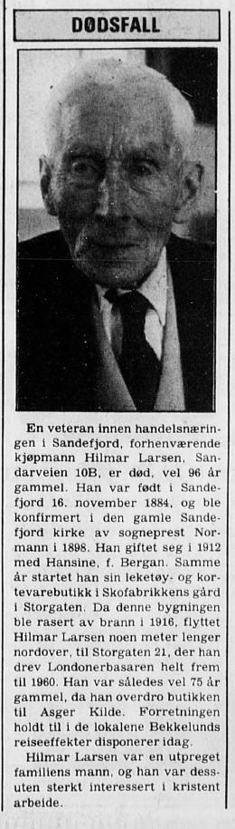 Bilde av Hilmar døde 24.12.1980