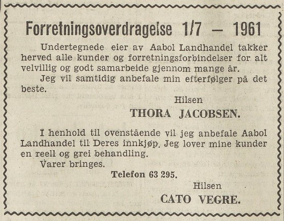Bilde av Overdragelse 1.7.1961