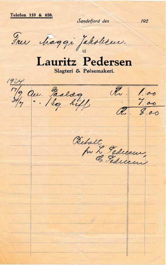 Bilde av Nota fra Lauritz Pedersen      Slagteri og Pølseri