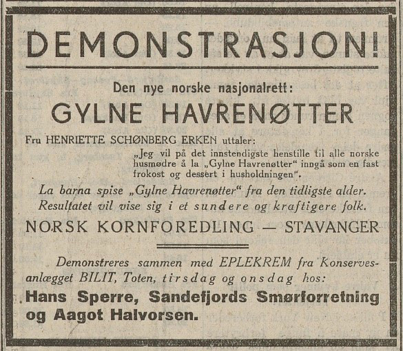 Bilde av Annonse i Sfj. Blad 30.5.1932.