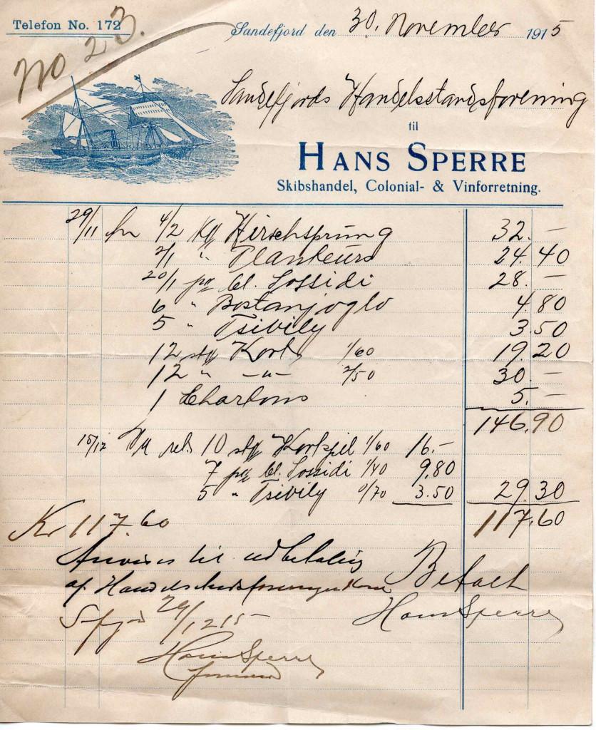Bilde av Faktura til Sandefjord Handelstand Forening
