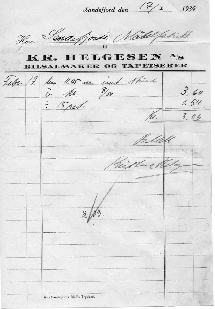 Bilde av Kvittering 1934