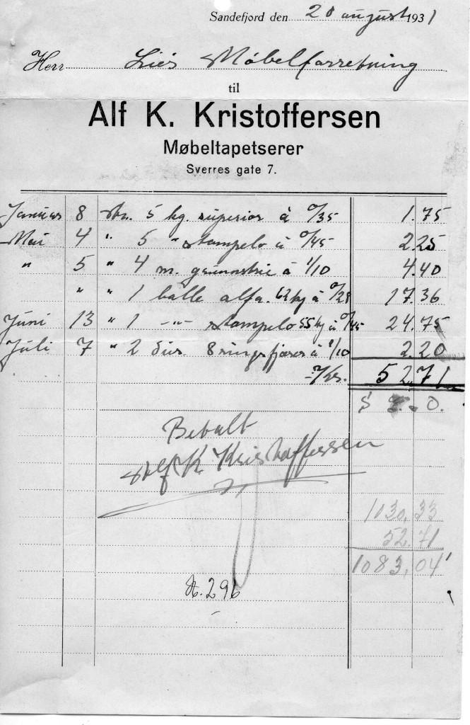 Bilde av Kvittering 21. august 1931