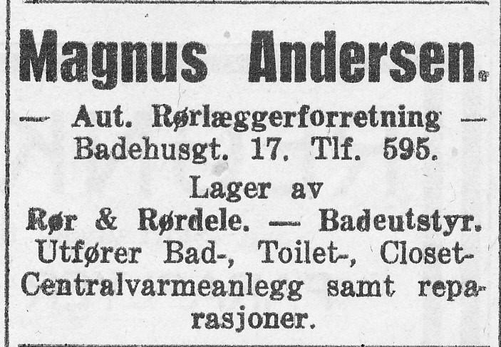 Bilde av Rørlæggerforretning Magnus Andersen, Badehusgaden 17