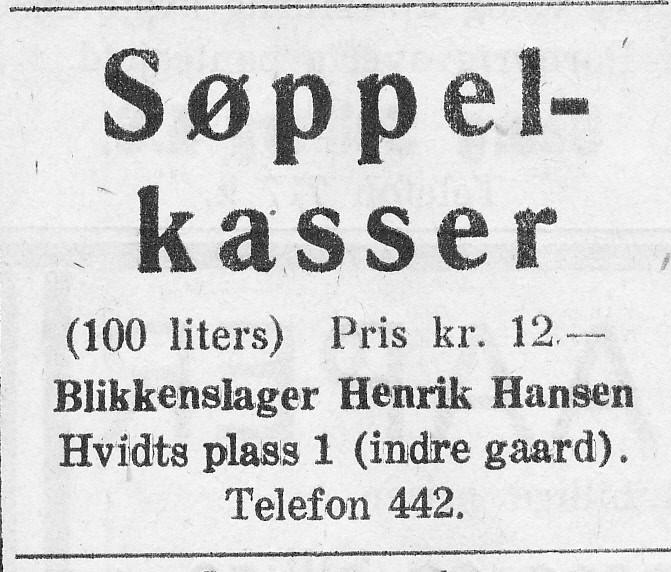 Bilde av Blikkenslager Henrik Hansen, Hvidts plass 1