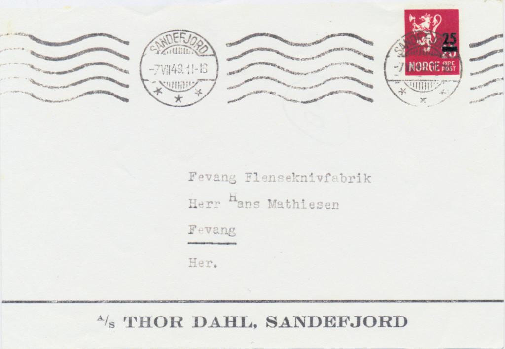 Bilde av Brev fra Thor Dahl i 1949