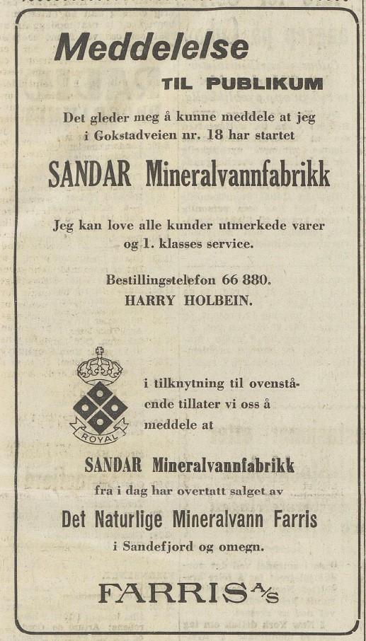 Bilde av Oppstart mineralvannfabrikk 2.1.1961