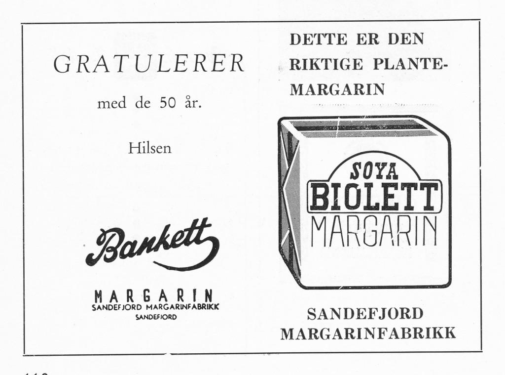 Bilde av Annonse Sandefjord Margarinfabrikk 50 år