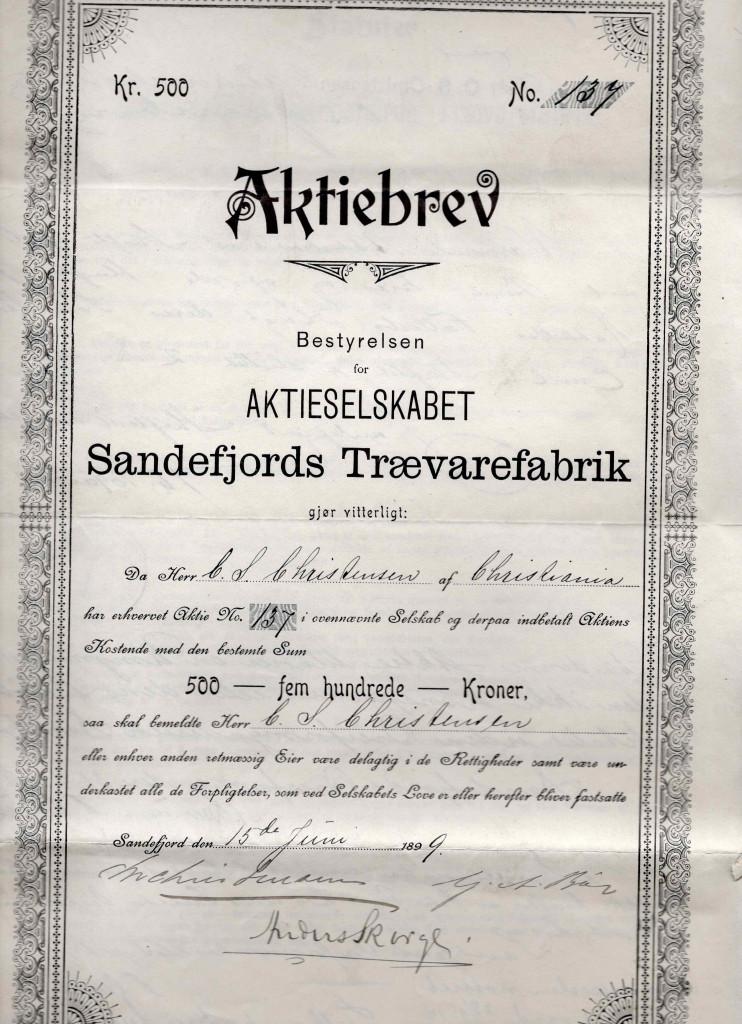 Bilde av Aktiebrev fra 1899