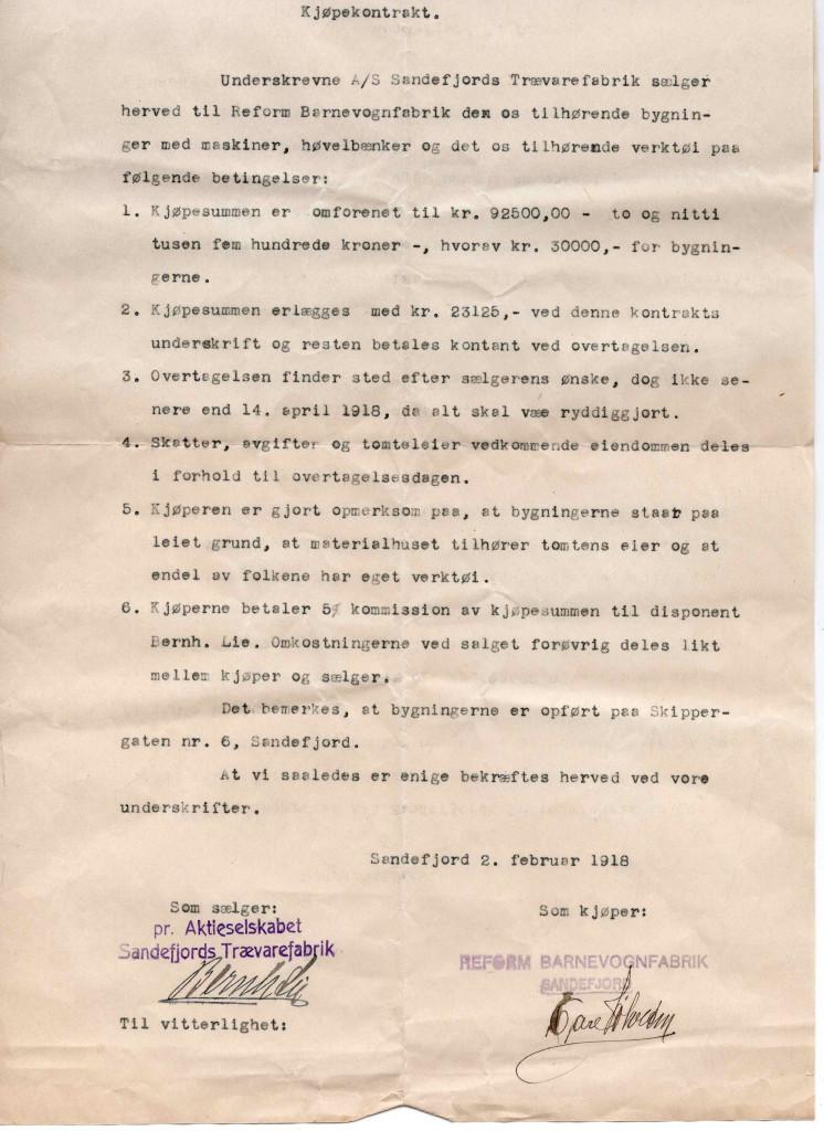Bilde av Kjøpekontrakt 1918