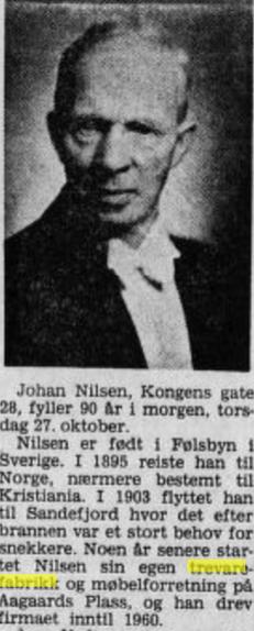 Bilde av Johan Nilsen Møbelfabrikk og Møbelforretning.
