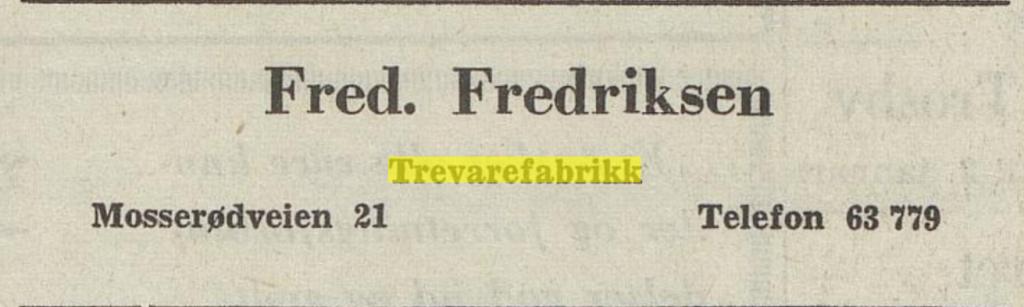 Bilde av Fred. Fredriksen Trevarefabrikk, Annonse