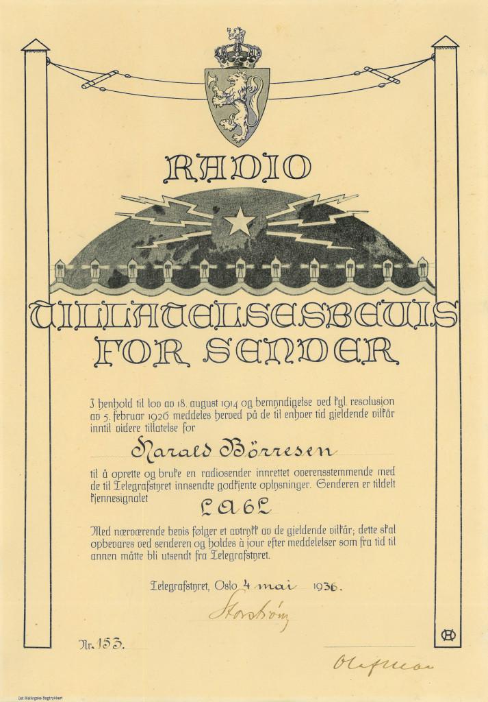 Bilde av Radio lisens fra 1936