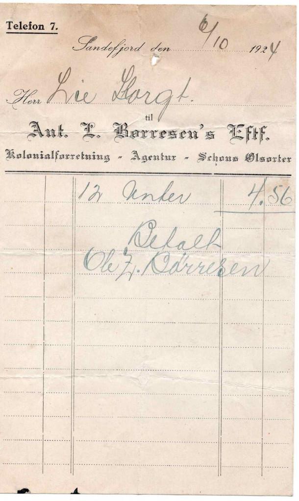 Bilde av Kvittering 1924 - Børresens Eftf.