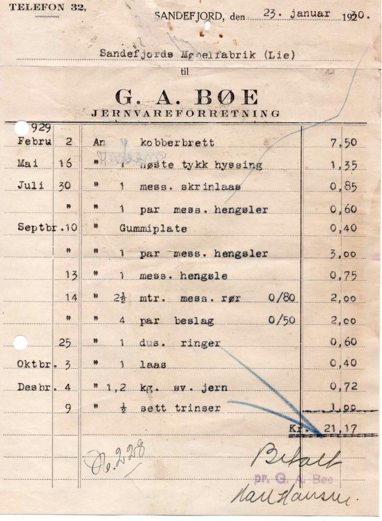 Bilde av G. A. Bøe, jernvareforretning