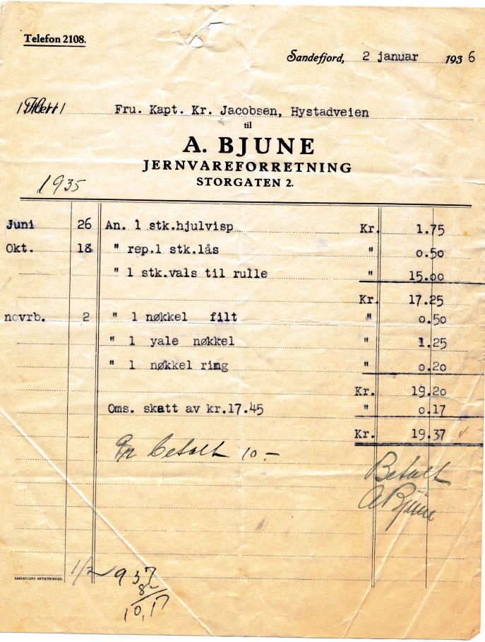 Bilde av Kvittering 1936
