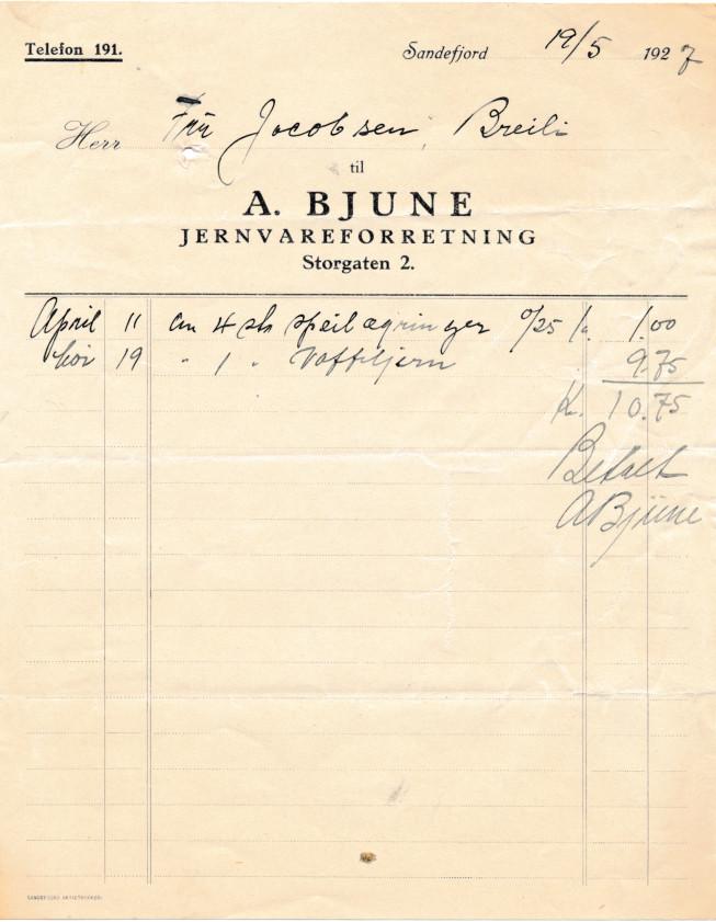 Bilde av Kvittering 1927