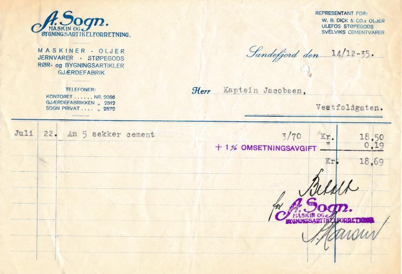 Bilde av Kvittering 1935