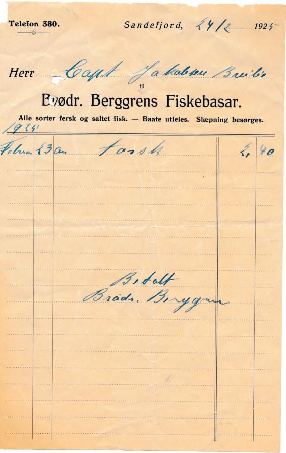 Bilde av Kvittering 1925