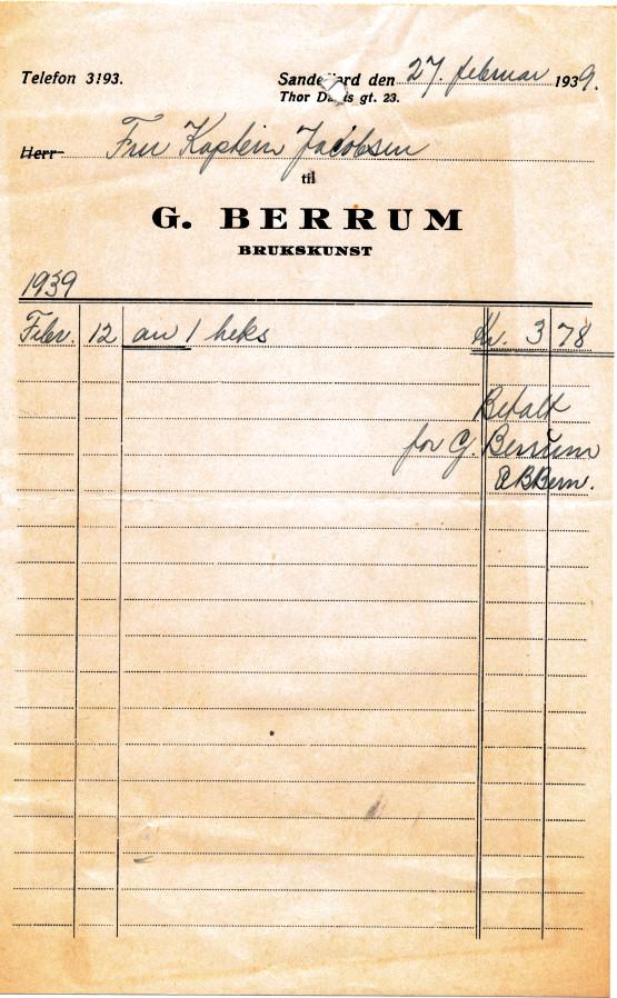 Bilde av G. Berrum, brukskunst