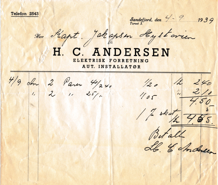 Bilde av Kvittering fra 1939