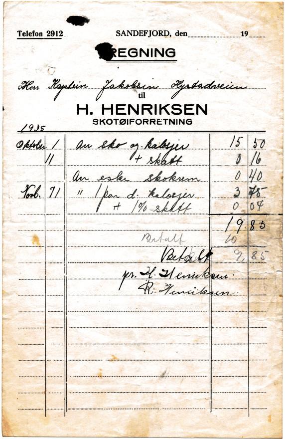 Bilde av H. Henriksen, skotøiforretning