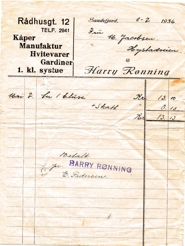Bilde av Kvittering - 1936