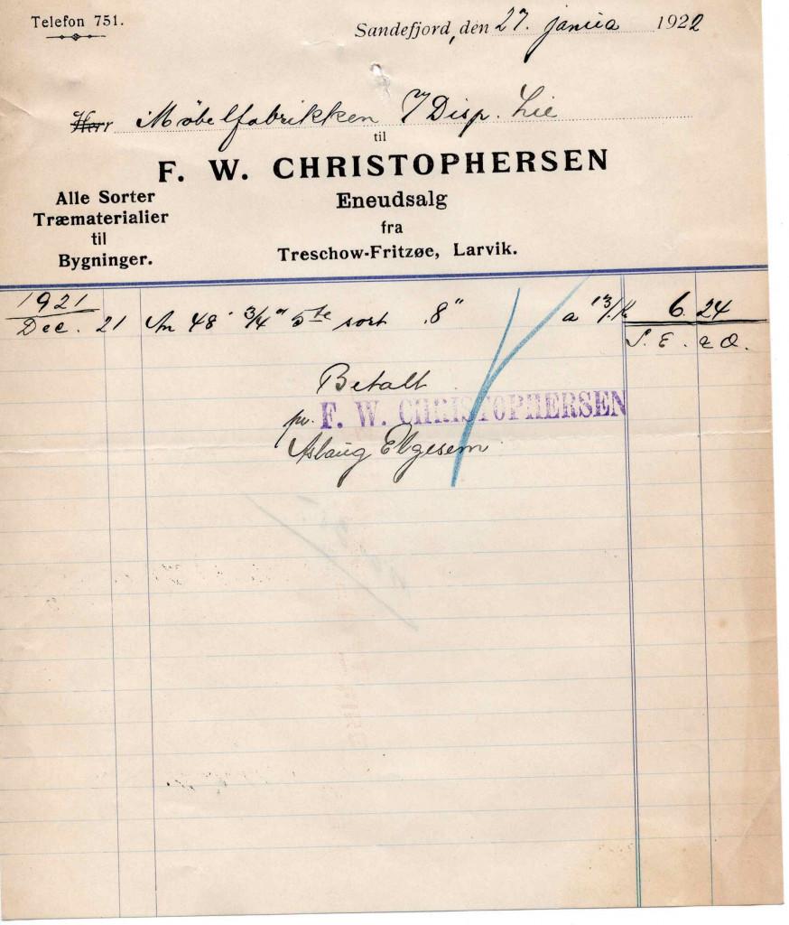 Bilde av Kvittering 1922