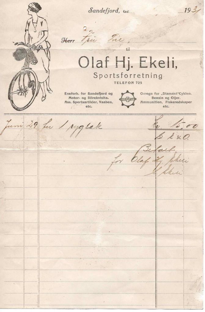 Bilde av Kvittering 1931