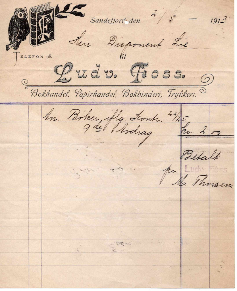 Bilde av Ludv. Foss, Bokhandel, Papirhandel, Bokbinderi, Trykkeri