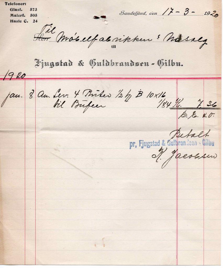 Bilde av Kvittering 1920