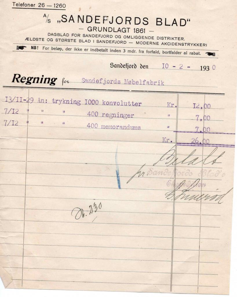 Bilde av Kvittering 1930